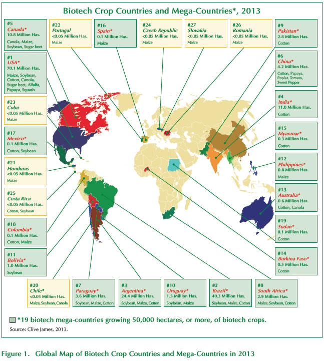 Figure 1. Global Map of Biotech Crop Countries and Mega-Countries in 2013